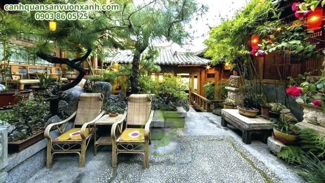 Mẫu sân vườn nhật bản có bàn trà