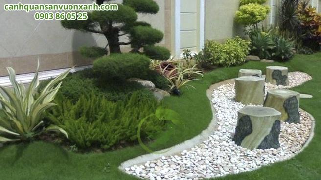 Phong cách Nhật bản với tiểu cảnh bonsai, bàn ghế đá,...